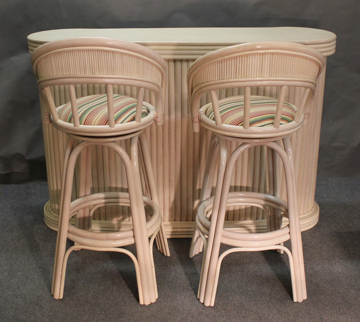 Whitewash Rattan Bar and Stools